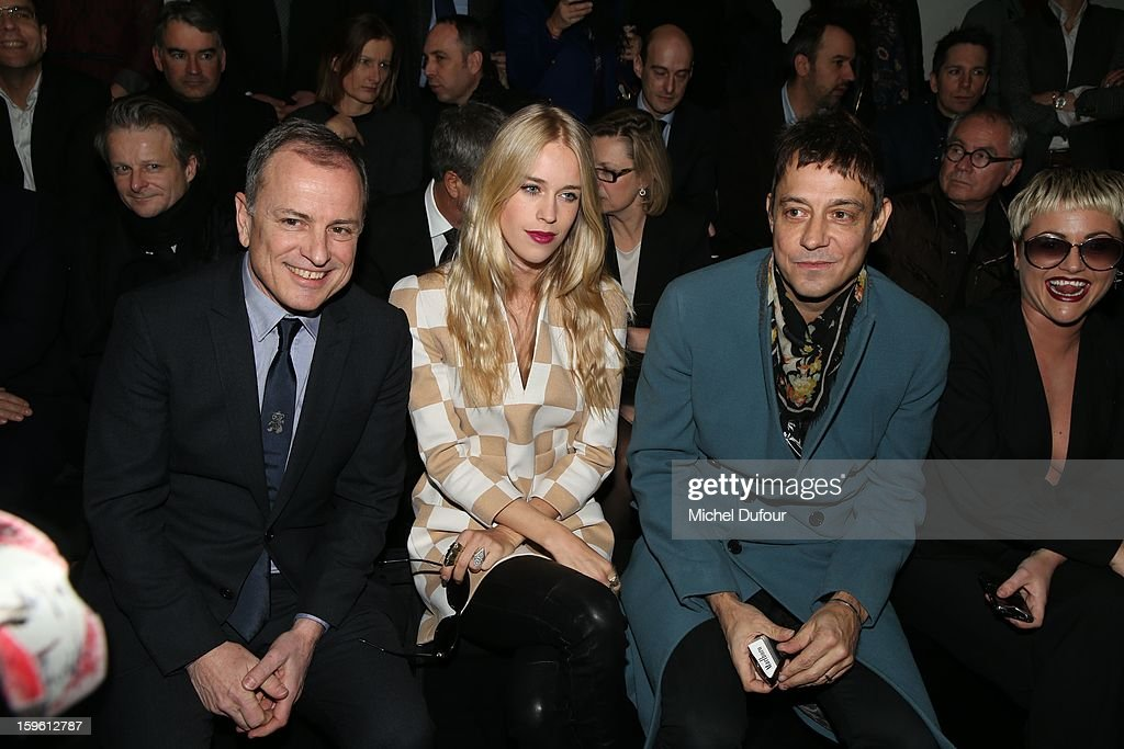 Michael Burke, Lady Mary Charteris and Jamie Hince attend the Louis Vuitton Men Autumn / Winter 2013 show as part of Paris Fashion Week on January 17, 2013 in Paris, France.