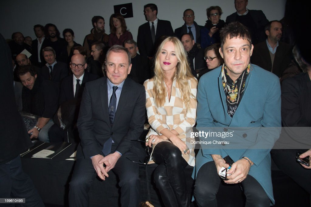 Michael Burke, Lady Mary Charteris, Jamie Hince attend the Louis Vuitton Men Autumn / Winter 2013 show as part of Paris Fashion Week on January 17, 2013 in Paris, France.