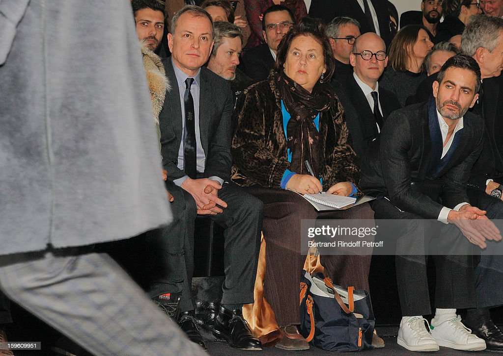 Michael Burke, Suzy Menkes and Marc Jacobs attend the Louis Vuitton Men Autumn / Winter 2013 show as part of Paris Fashion Week on January 17, 2013 in Paris, France.