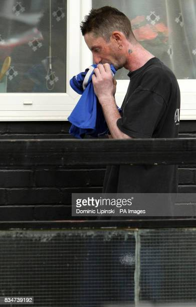 Michael Burke the brother of murdered teenager Cara Burke leave the family home in Southfields South West London