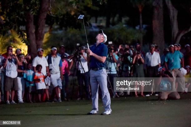 Michael Buttacavoli of the United States misses a birdie putt on the 18th hole during the final round of the PGA TOUR Latinoamérica Flor de Cana Open...