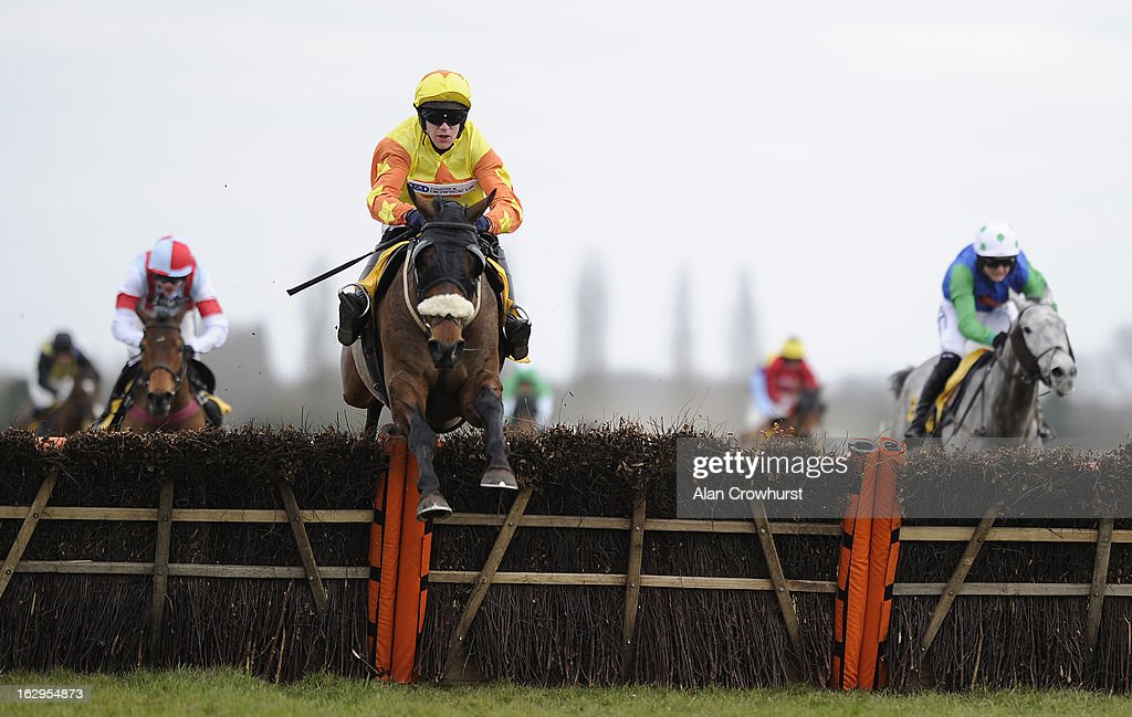 Michael Byrne riding Buck Magic clear the last to win the Betfair Supporting Greatwood Handicap Hurdle Race at Newbury racecourse on March 02, 2013 in Newbury, England.