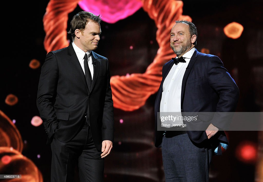 Michael C. Hall and Jimmy Wales (L-R) are presenters at the 2014 Breakthrough Prizes Awarded in Fundamental Physics and Life Sciences Ceremony at NASA Ames Research Center on December 12, 2013 in Mountain View, California.