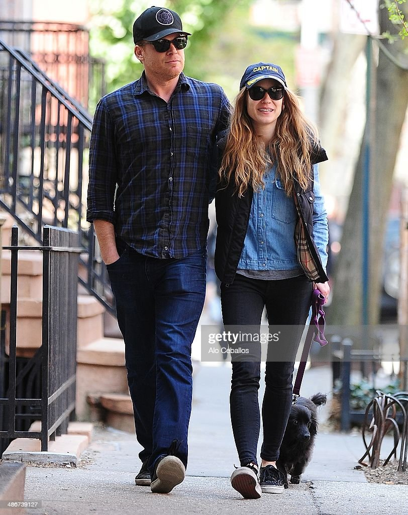 Michael C Hall and Morgan Macgregor are seen in the West Village on April 25 2014 in New York City