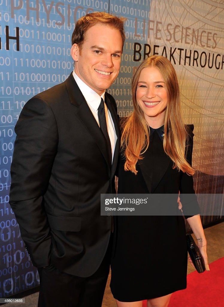 <a gi-track='captionPersonalityLinkClicked' href=/galleries/search?phrase=Michael+C.+Hall+-+Actor&family=editorial&specificpeople=680229 ng-click='$event.stopPropagation()'>Michael C. Hall</a> and Morgan MacGregor attend the 2014 Breakthrough Prize Inaugural Ceremony for Awards in Fundamental Physics and Life Sciences at NASA Ames Research Center on December 12, 2013 in Mountain View, California.