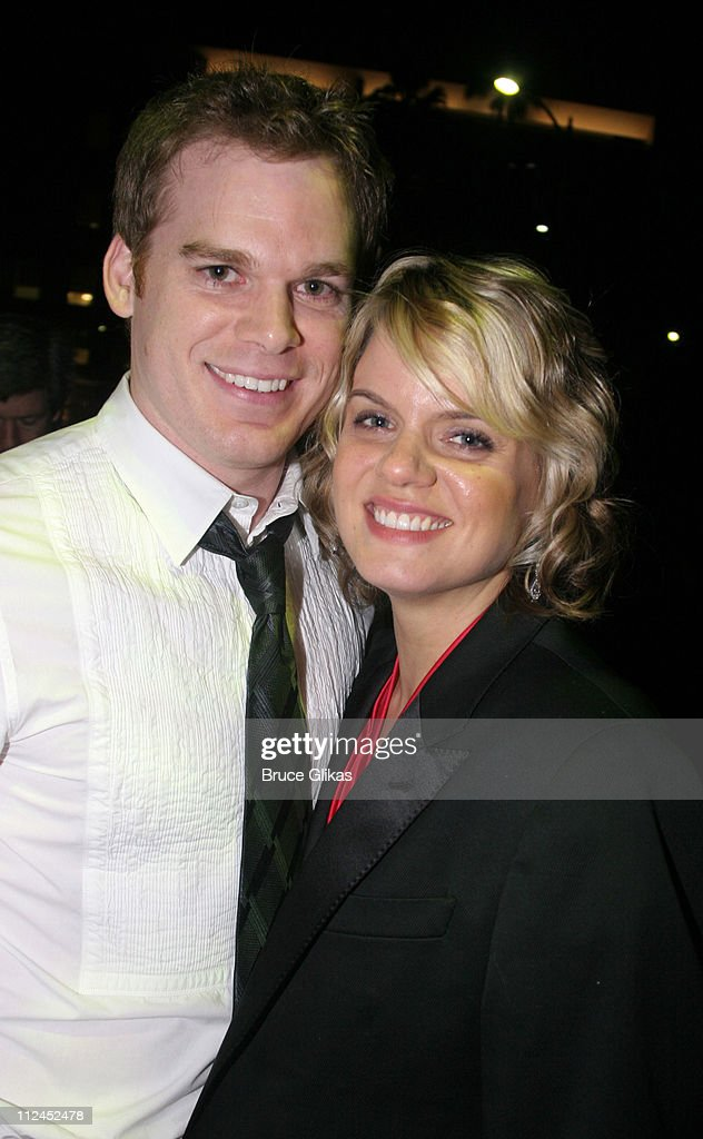 Michael C. Hall and wife Amy Spanger during 2005 Screen Actors Guild Awards - HBO Post SAG Awards Dinner at Spago Restaurant in Beverly Hills, California, United States.