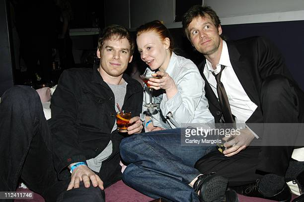 Michael C Hall Lauren Ambrose and Peter Krause during 5th Annual Tribeca Film Festival 'Civic Duty' Premiere After Party at BED Nightclub in New York...