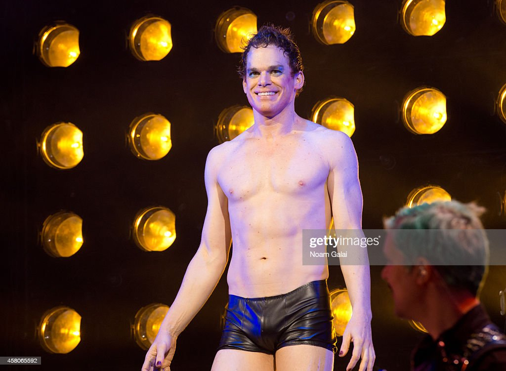 Michael C Hall performs on stage during the curtain call of 'Hedwig And The Angry Inch' at Belasco Theatre on October 29 2014 in New York City
