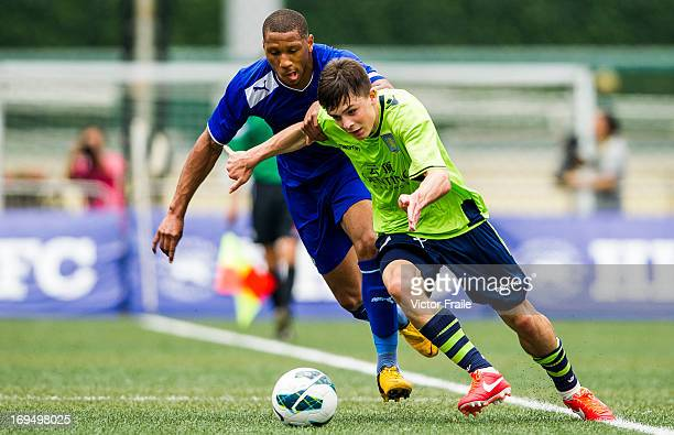 Michael Cain of Leicester City and Jack Grealish of Aston Villa fight for the ball on day three of the Hong Kong International Soccer Sevens at Hong...