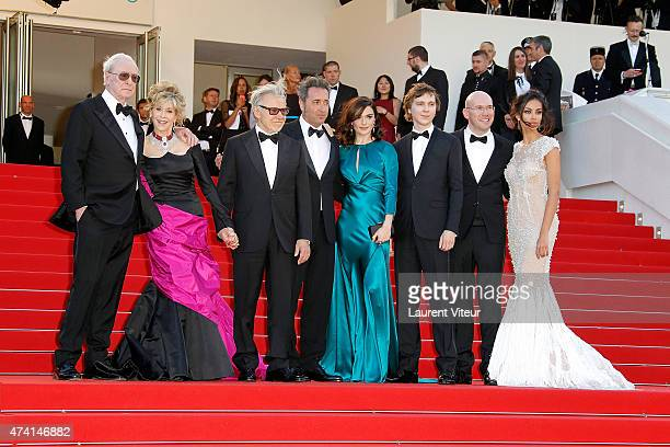 Michael Caine Jane Fonda Harvey Keitel Paolo Sorrentino Rachel Weisz Paul Dano Alex MacQueen and Madalina Ghenea attend the 'Youth' premiere during...
