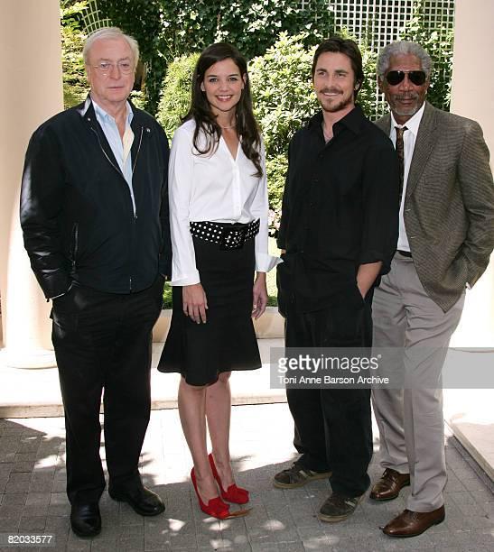 Michael Caine Katie Holmes Christian Bale and Morgan Freeman