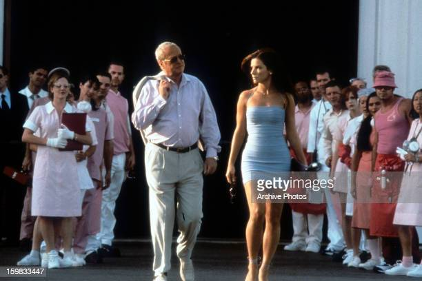 Michael Caine walks with Sandra Bullock in a scene from the film 'Miss Congeniality' 2000