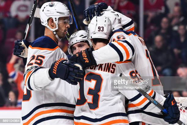 Michael Cammalleri of the Edmonton Oilers celebrates his goal with teammates Darnell Nurse Ryan NugentHopkins and Patrick Maroon against the Montreal...