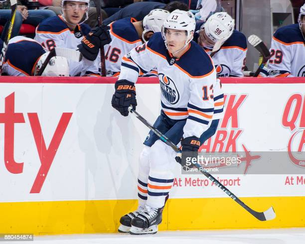 Michael Cammalleri of the Edmonton Oilers follows the play against the Detroit Red Wings during an NHL game at Little Caesars Arena on November 22...