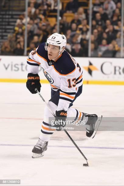 Michael Cammalleri of the Edmonton Oilers shoots the puck against the Boston Bruins at the TD Garden on November 26 2017 in Boston Massachusetts