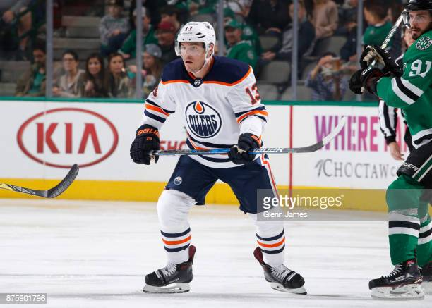 Michael Cammalleri of the Edmonton Oilers skates against the Dallas Stars at the American Airlines Center on November 18 2017 in Dallas Texas