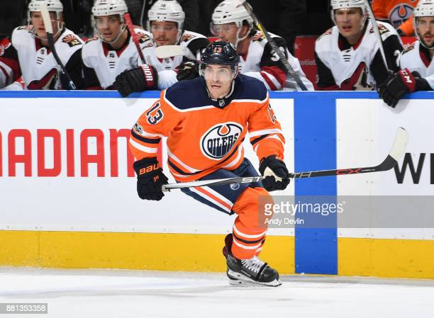 Michael Cammalleri of the Edmonton Oilers skates during the game against the Arizona Coyotes on November 28 2017 at Rogers Place in Edmonton Alberta...