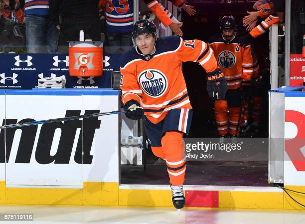 Michael Cammalleri of the Edmonton Oilers steps onto the ice prior to the game against the St Louis Blues on November 16 2017 at Rogers Place in...