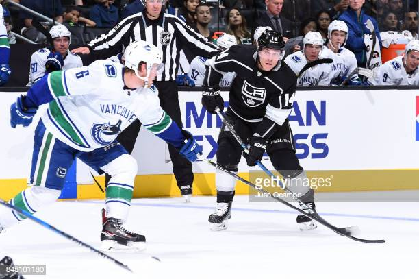 Michael Cammalleri of the Los Angeles Kings handles the puck against Brock Boeser of the Vancouver Canucks at STAPLES Center on September 16 2017 in...