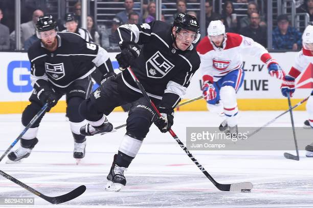Michael Cammalleri of the Los Angeles Kings passes the puck during a game against the Montreal Canadiens at STAPLES Center on October 18 2017 in Los...