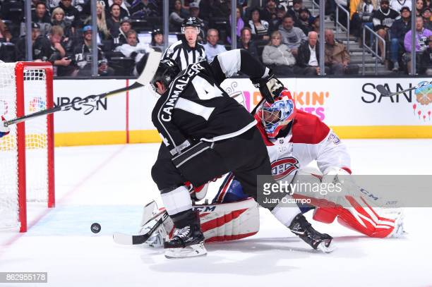 Michael Cammalleri of the Los Angeles Kings shoots and scores against Al Montoya of the Montreal Canadiens at STAPLES Center on October 18 2017 in...