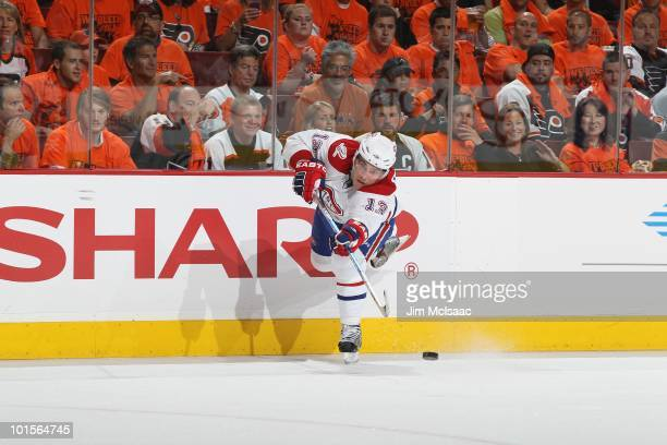 Michael Cammalleri of the Montreal Canadiens passes the puck against the Philadelphia Flyers in Game 5 of the Eastern Conference Finals during the...