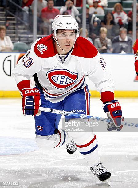 Michael Cammalleri of the Montreal Canadiens skates after the puck against the Florida Panthers on December 31 2009 at the BankAtlantic Center in...