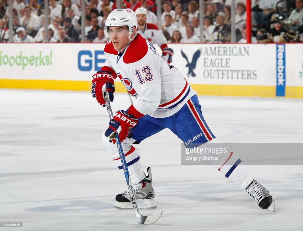 Michael Cammalleri of the Montreal Canadiens skates against the Pittsburgh Penguins in Game Seven of the Eastern Conference Semifinals during the...