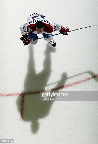 Michael Cammalleri of the Montreal Canadiens warms up before playing against the New Jersey Devils at the Prudential Center on December 16 2009 in...