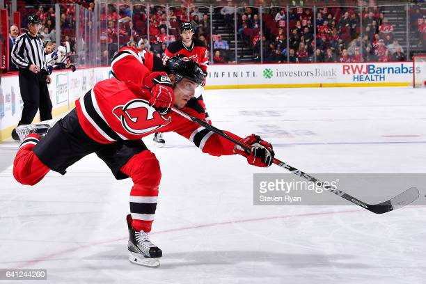 Michael Cammalleri of the New Jersey Devils takes a shot against the Buffalo Sabres during the second period at Prudential Center on February 6 2017...