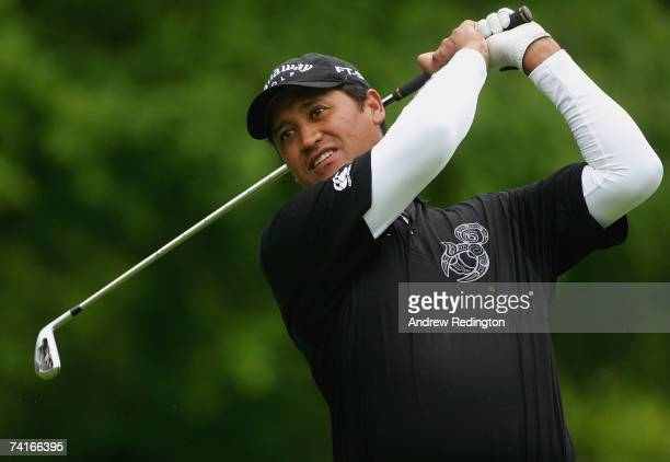 Michael Campbell of New Zealand hits his second shot on the second hole during the ProAm for the Irish Open at the Adare Manor Hotel and Golf Resort...