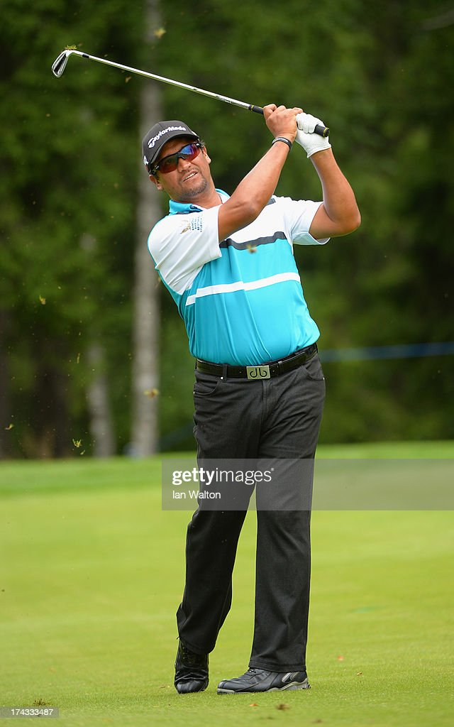 <a gi-track='captionPersonalityLinkClicked' href=/galleries/search?phrase=Michael+Campbell+-+Golfer&family=editorial&specificpeople=15299106 ng-click='$event.stopPropagation()'>Michael Campbell</a> of New Zealand in action during the Pro-Am of the M2M Russian Masters at Tseleevo Golf & Polo Club on July 24, 2013 in Moscow, Russia.