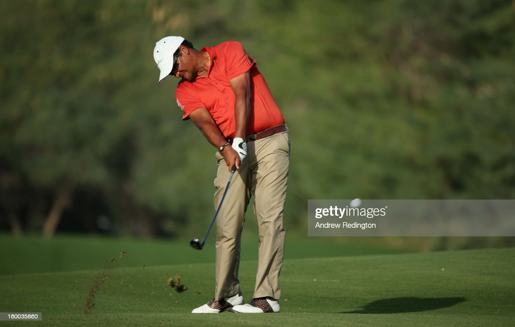 <a gi-track='captionPersonalityLinkClicked' href=/galleries/search?phrase=Michael+Campbell+-+Golfer&family=editorial&specificpeople=15299106 ng-click='$event.stopPropagation()'>Michael Campbell</a> of New Zealand in action during the third round of the Commercial Bank Qatar Masters held at Doha Golf Club on January 25, 2013 in Doha, Qatar.