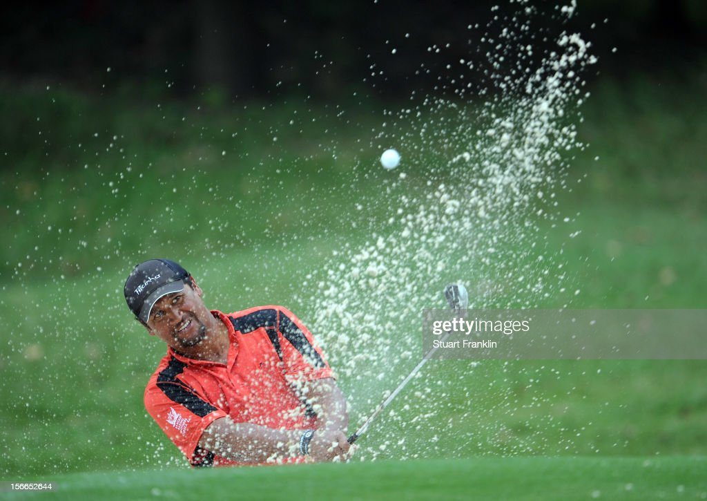 <a gi-track='captionPersonalityLinkClicked' href=/galleries/search?phrase=Michael+Campbell+-+Golfer&family=editorial&specificpeople=15299106 ng-click='$event.stopPropagation()'>Michael Campbell</a> of New Zealand plays a bunker shot during the final round of the UBS Hong Kong open at The Hong Kong Golf Club on November 18, 2012 in Hong Kong, Hong Kong..