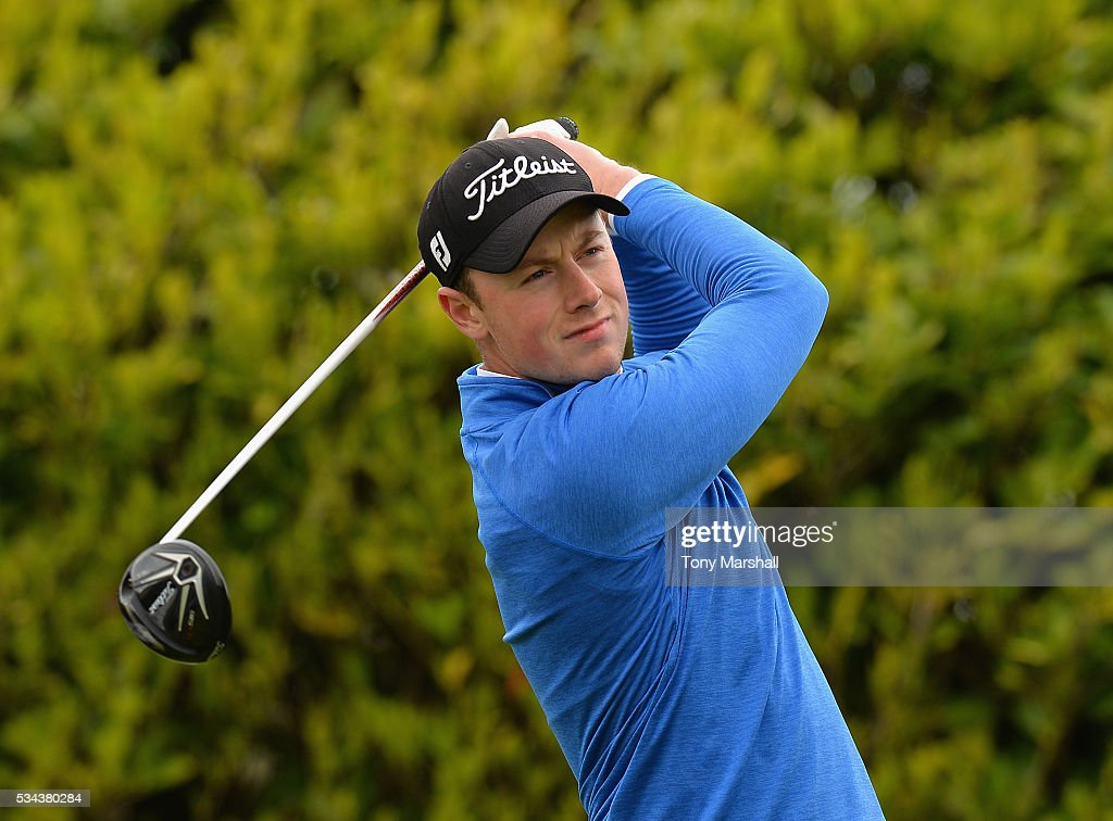 Michael Campbell of Northampton Golf Club plays his first shot on the 1st tee during the PGA Assistants Championships - Midlands Qualifier at the Coventry Golf Club on May 26, 2016 in Coventry, England.
