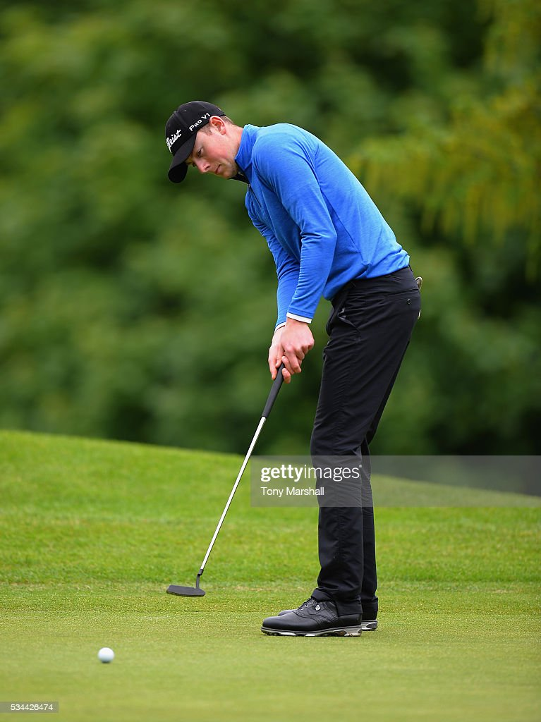 Michael Campbell of Northampton Golf Club putts on the 18th green during the PGA Assistants Championships - Midlands Qualifier at the Coventry Golf Club on May 26, 2016 in Coventry, England.