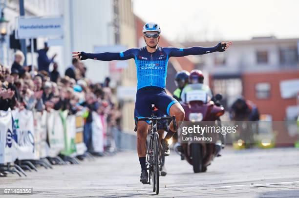 Michael Carbel Svendgaard ofTeam VéloCONCEPT wins the danish cycling race Grand Prix Herning on April 22 2017 in Herning Denmark