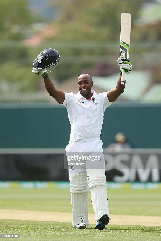 <a gi-track='captionPersonalityLinkClicked' href=/galleries/search?phrase=Michael+Carberry&family=editorial&specificpeople=600686 ng-click='$event.stopPropagation()'>Michael Carberry</a> of England celebrates scoring his century during day one of the tour match between Australia A and England at Blundstone Arena on November 6, 2013 in Hobart, Australia.