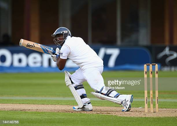 Michael Carberry of England Lions in action batting during day one of the tour match between England Lions and West Indies at The County Ground on...