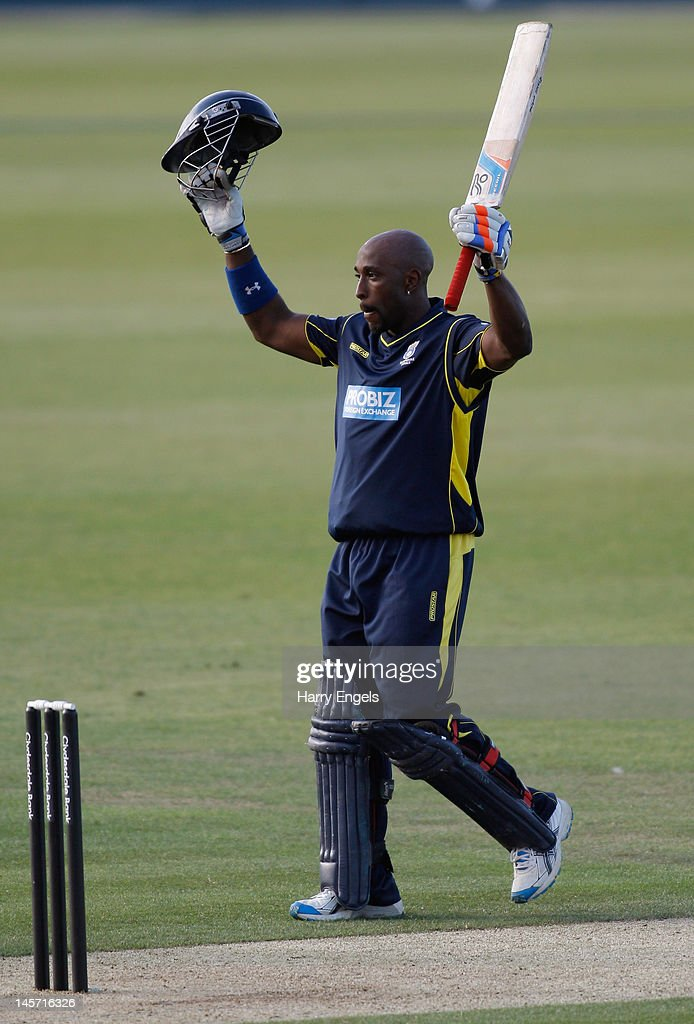 Michael Carberry of Hampshire celebrates after reaching his century during the Clydesdale Bank Pro40 match between the Hampshire Royals and the Scottish Saltires on June 4, 2012 in Southampton, England.