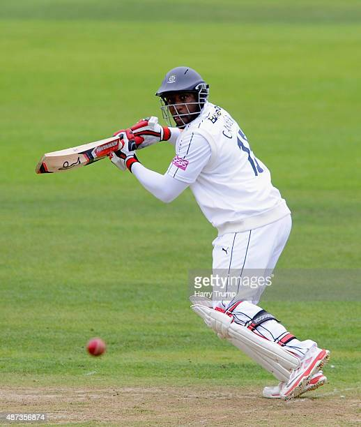 Michael Carberry of Hampshire cuts the ball during the LV County Championship match between Somerset and Hampshire during the LV County Championship...