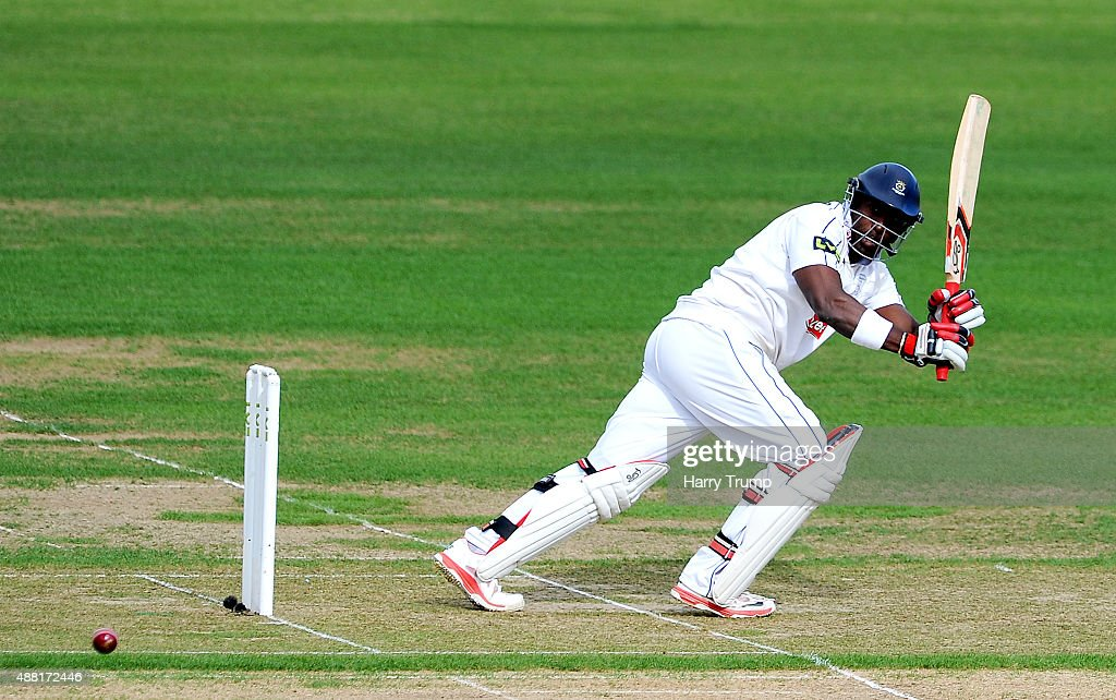 Michael Carberry of Hampshire flicks the ball during the LV County Championship match between Hampshire and Yorkshire at Ageas Bowl on September 14...