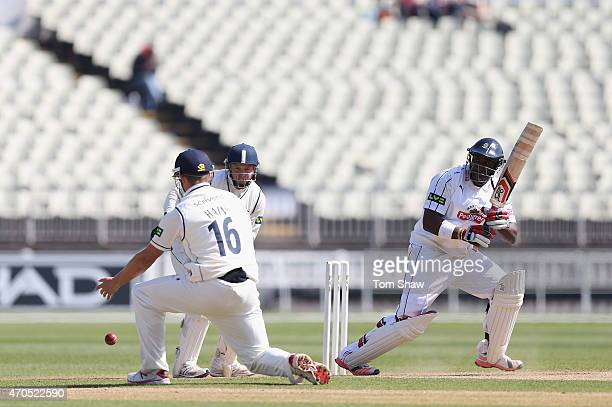 Michael Carberry of Hampshire hits out during day 3 of the LV County Championship match between Warwickshire and Hampshire at Edgbaston on April 21...