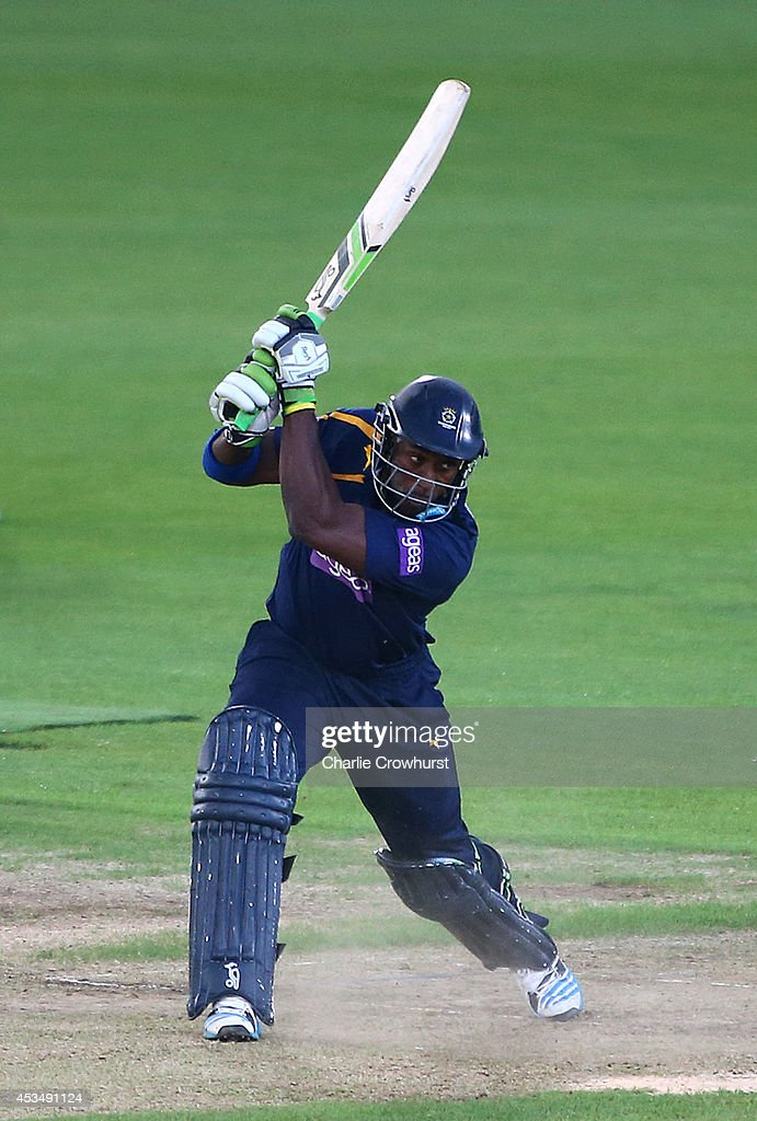 Michael Carberry of Hampshire hits out during Royal London OneDay Cup match between Hampshire and Worcestershire Rapids at The Ageas Bowl on August...