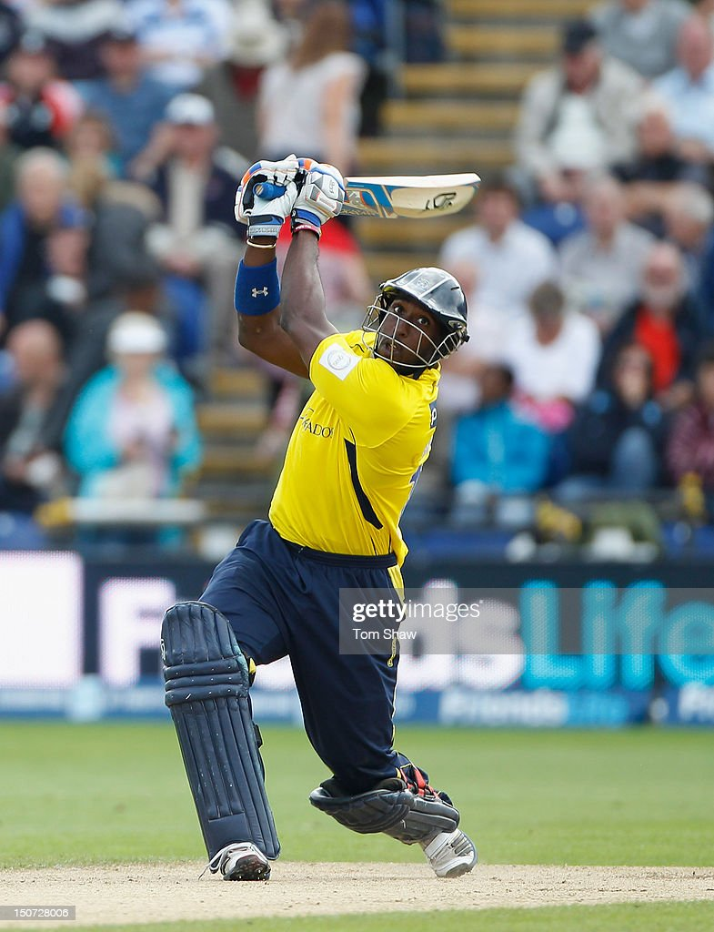 Michael Carberry of Hampshire hits out during the Friends Life T20 Semi Final match between Hampshire and Somerset at SWALEC Stadium on August 25, 2012 in Cardiff, Wales.