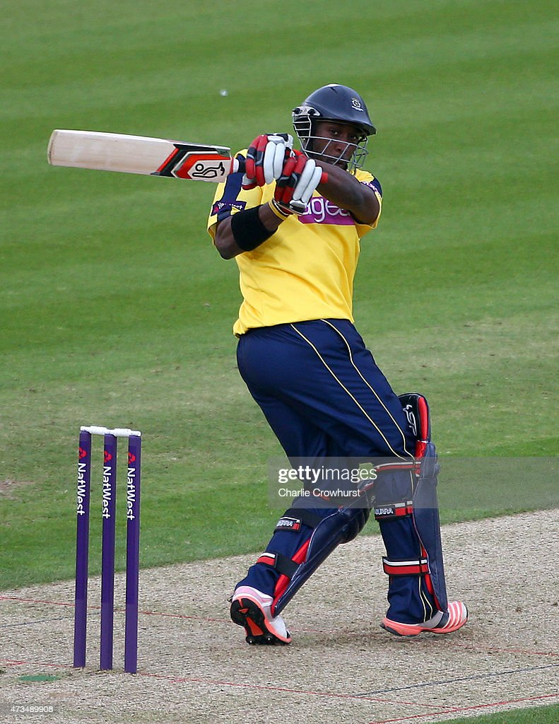Michael Carberry of Hampshire hits out during the Natwest T20 Blast match between Hampshire and Essex at The Rose Bowl on May 15 2014 in Southampton...