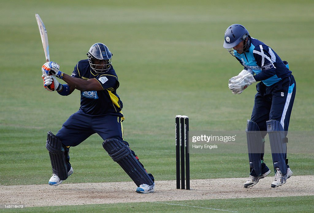Michael Carberry of Hampshire (L) picks up some runs during the Clydesdale Bank Pro40 match between the Hampshire Royals and the Scottish Saltires on June 4, 2012 in Southampton, England.