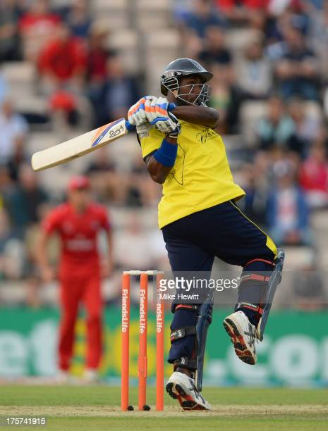 Michael Carberry of Hampshire pulls the ball for four during the Friends Life T20 Quarter Final between Hampshire Royals and Lancashire Lightning at...