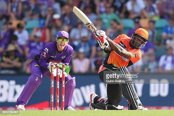 Michael Carberry of the Scorchers bats during the Big Bash League match between the Hobart Hurricanes and the Perth Scorchers at Blundstone Arena on...