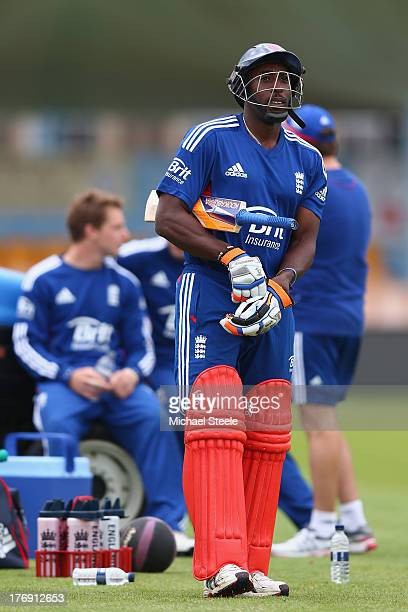 Michael Carberry prepares to bat during the England Lions training session at The County Ground on August 19 2013 in Bristol England